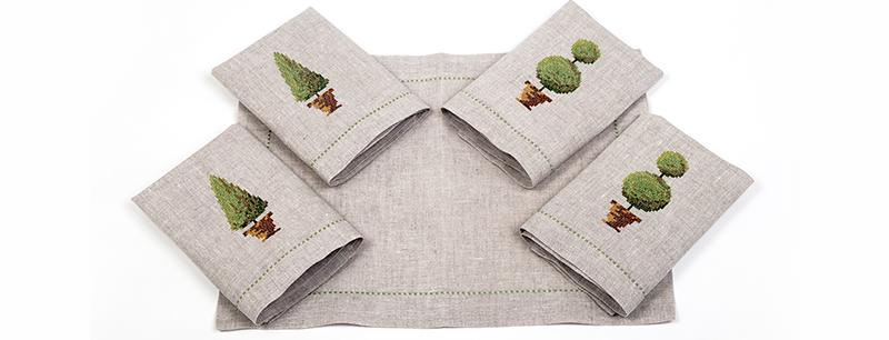 individual y servilletas de lino MUSGO