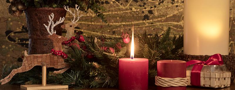 velas para decorar tu casa en Navidad